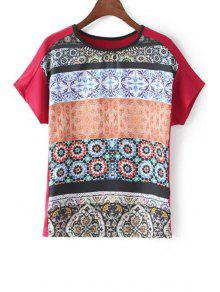 Fitting Printed Round Neck Short Sleeve T-Shirt - Red L