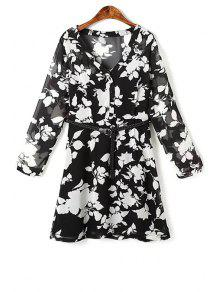 Flower Print V Neck Long Sleeve Chiffon Dress - Black L