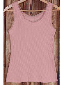 Buy Solid Color Lace Splicing Scoop Neck Tank Top - PINK ONE SIZE(FIT SIZE XS TO M)