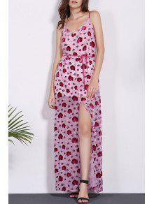 Floral Print Spaghetti Straps Dress - Red M