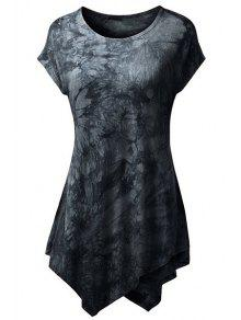 Abstract Print Short Sleeve T-Shirt - Black M