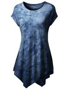 Abstract Print Short Sleeve T-Shirt - Deep Blue Xl