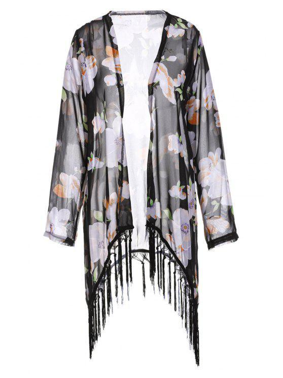 Collarless Tassel Splicing floral de manga larga Kimono - Negro L