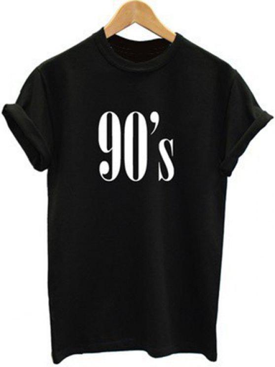 Camiseta elegante de cuello redondo manga corta de impresión de la letra de las mujeres que ensanchan - Negro L