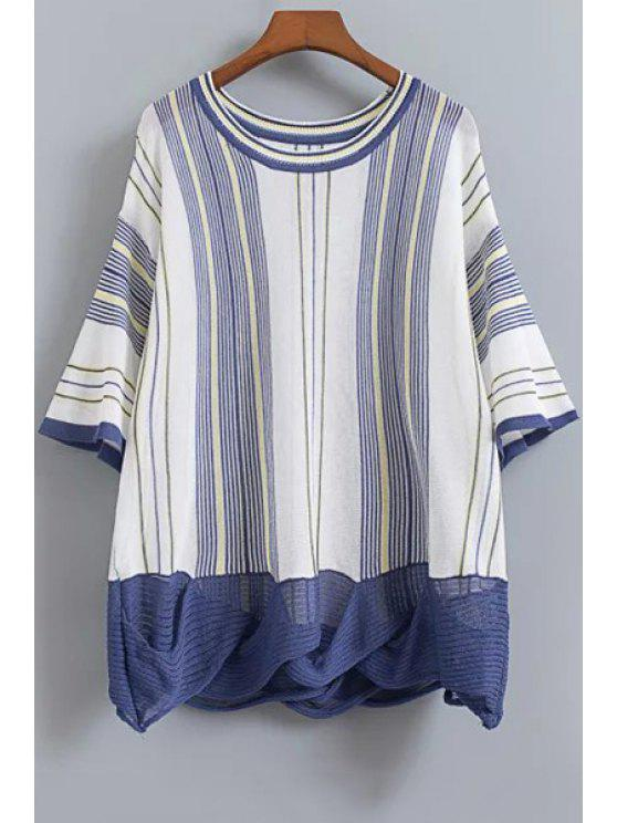 fashion Striped Dropped Shoulder Knitwear - CADETBLUE ONE SIZE(FIT SIZE XS TO M)