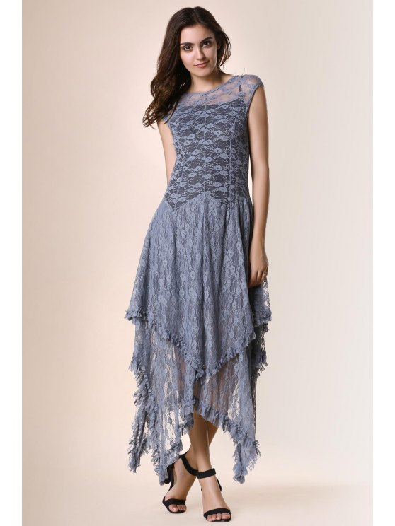 trendy Irregular Hem Lace Prom Dress - GRAY M