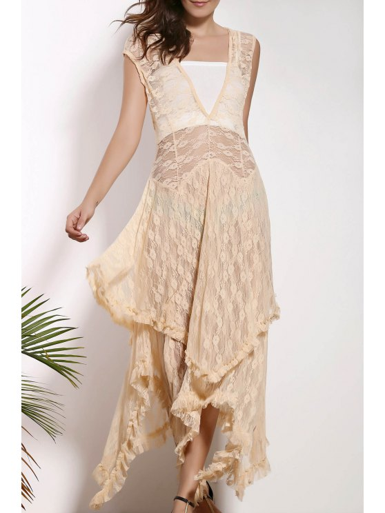 Dobladillo irregular del cordón del vestido de fiesta - Albaricoque M