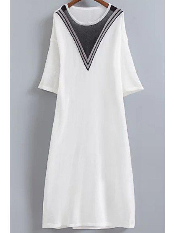 Vestido de Tejido con Rayas en Forma de V - Blanco Un tamaño(Montar tam