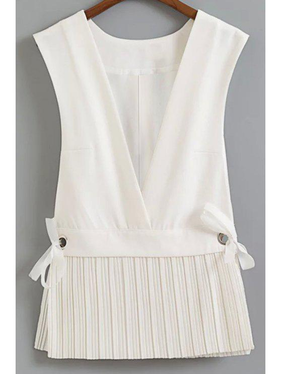 womens Low Cut Pleated Hem Waistcoat - WHITE L