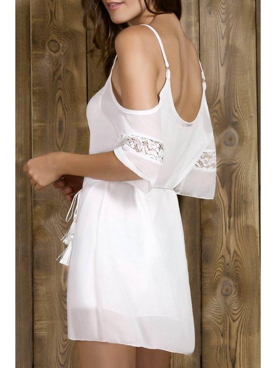 Robe à bretelles ceinturée avec épaules dénudées - Blanc M