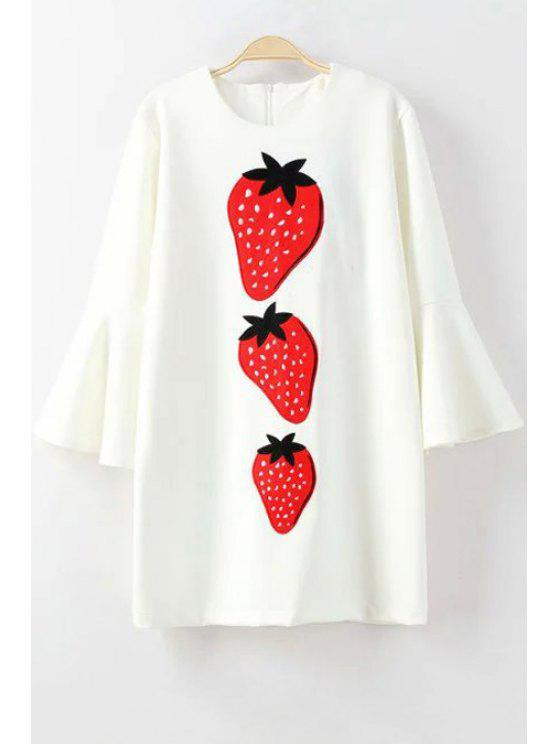 outfit Bell Sleeve Strawberry Appliqued Dress - WHITE L