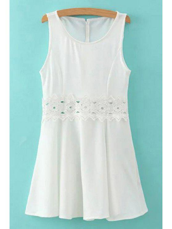 hot Lace Spliced Round Collar Sleeveless Mini Dress - WHITE S