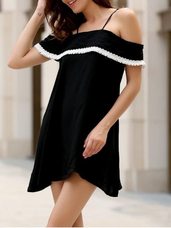 Micro Robe aux épaules dénudée embelli patchwork dentelle et falbalas - Noir S