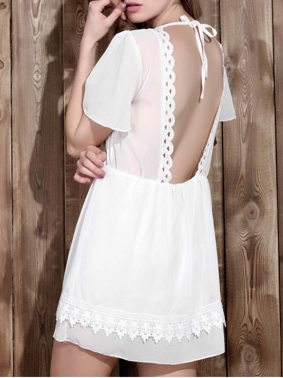 hot V Neck Backless Lace Insert Dress - WHITE XL