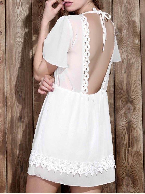 V Neck Backless Lace Spliced Robe de femmes élégantes - Blanc XL