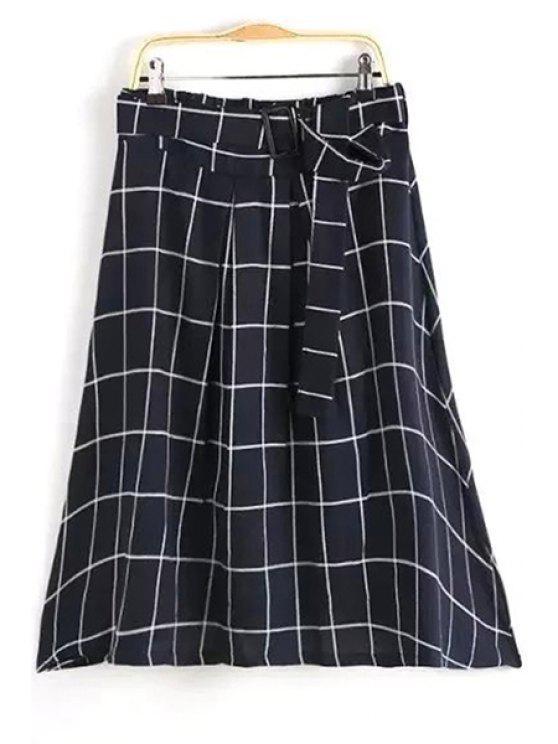 fashion Belted Gridding A Line Skirt - BLACK L
