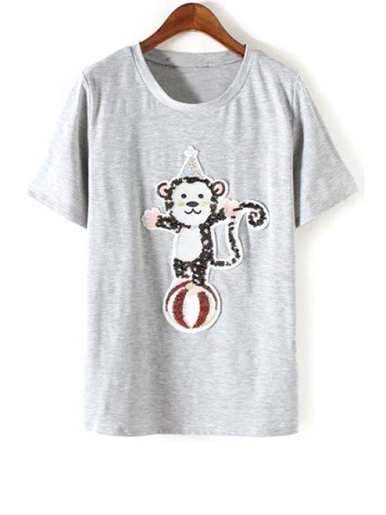 shops Monkey Sequined Round Neck Short Sleeve T-Shirt - GRAY S
