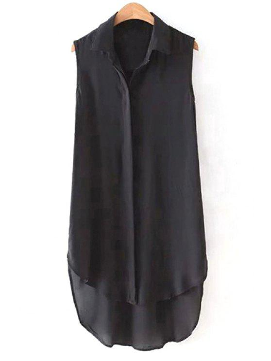 latest High Low Hem Shirt Collar Sleeveless Shirt - BLACK M