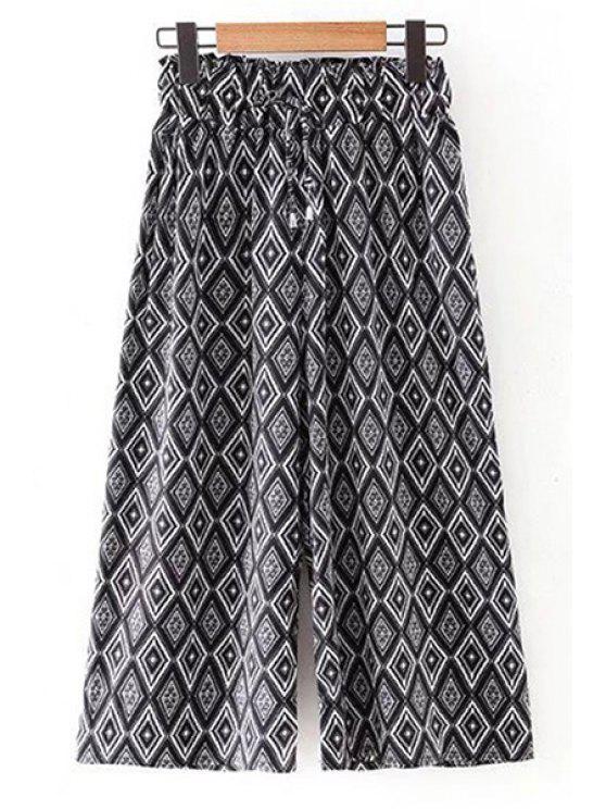 ثقافاتنا طباعة مطاطا الخصر السراويل الساق واسعة - أسود L