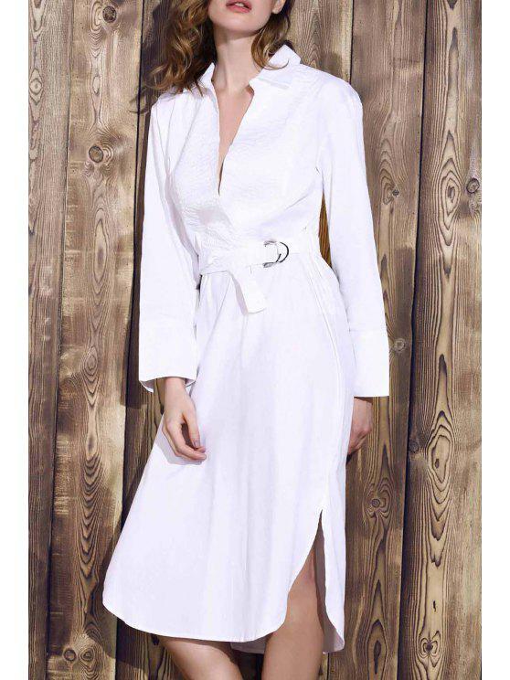 Del Bowknot del color sólido da vuelta-abajo vestir de manga larga - Blanco M