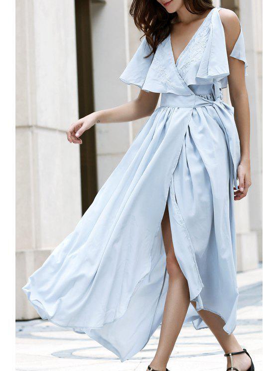 womens High Slit Flounce Ruffles Plunging Neck Sleeveless Dress - LIGHT BLUE S