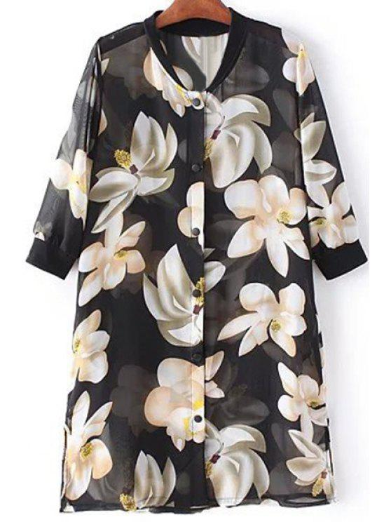 ladies Flower Print Stand Neck 3/4 Sleeve Chiffon Shirt - BLACK ONE SIZE(FIT SIZE XS TO M)