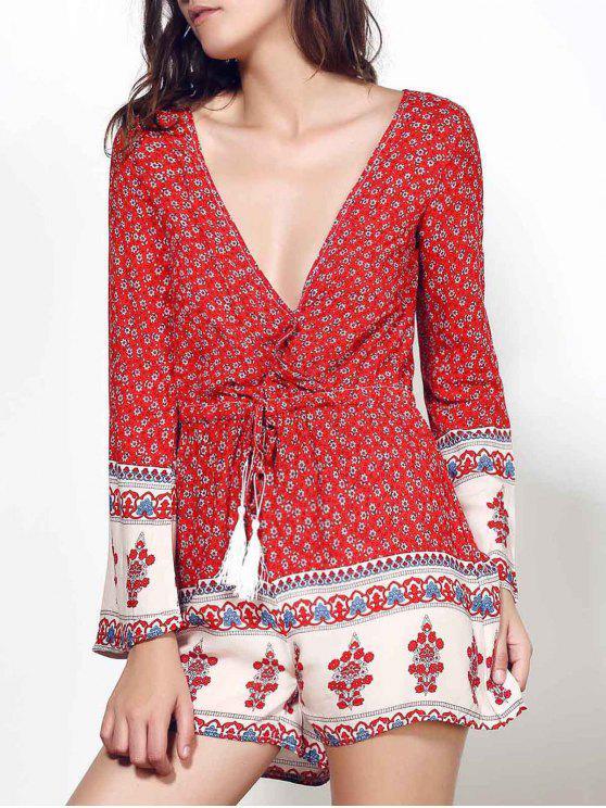 ladies Long Sleeve Red Print Romper - WINE RED S