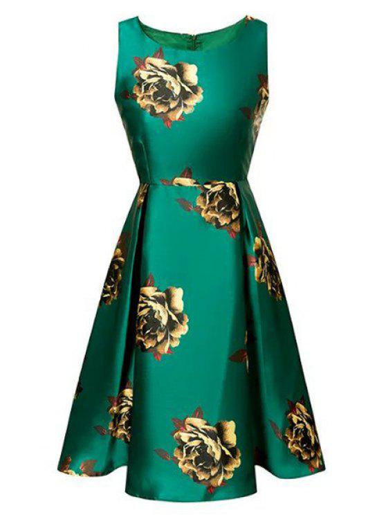 latest Floral Print Waisted Round Collar Sleeveless Dress - GREEN S