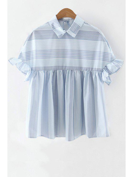 online Striped Flat Collar Butterfly Sleeve Blouse - LIGHT BLUE S
