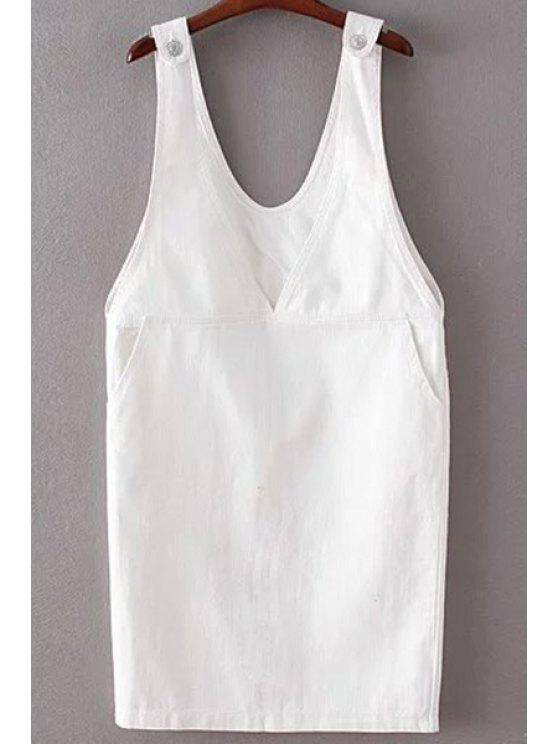 womens Plunging Neck Pinafor Denim Dress - WHITE ONE SIZE(FIT SIZE XS TO M)