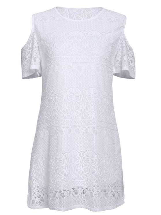 best White Lace Off The Shoulder Dress - WHITE S
