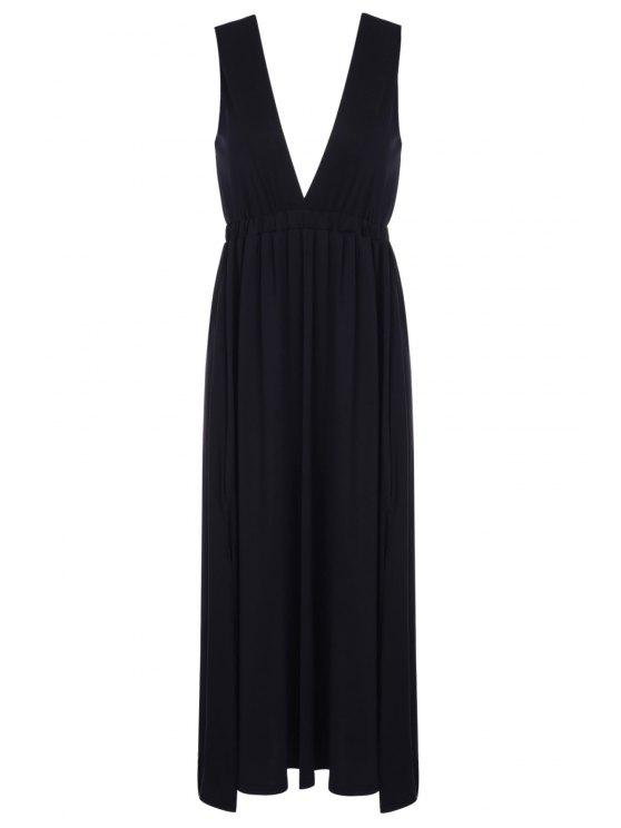 women Plunging Neck Black Backless Sleeveless Dress - BLACK M