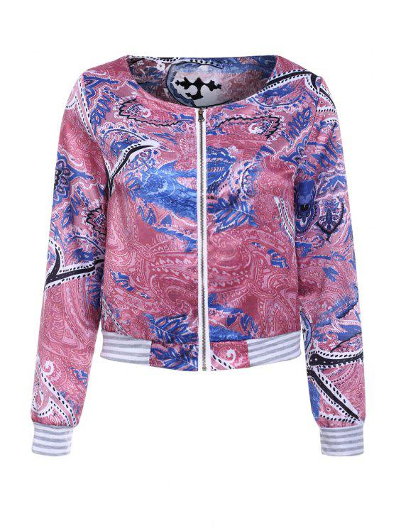 online Colorful Printed Long Sleeve Jacket - COLORMIX S