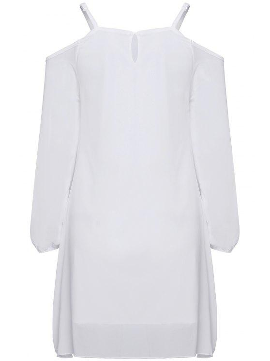 affordable Long Sleeve Irregular Hem White Dress - WHITE M