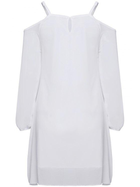 sale Long Sleeve Irregular Hem White Dress - WHITE S