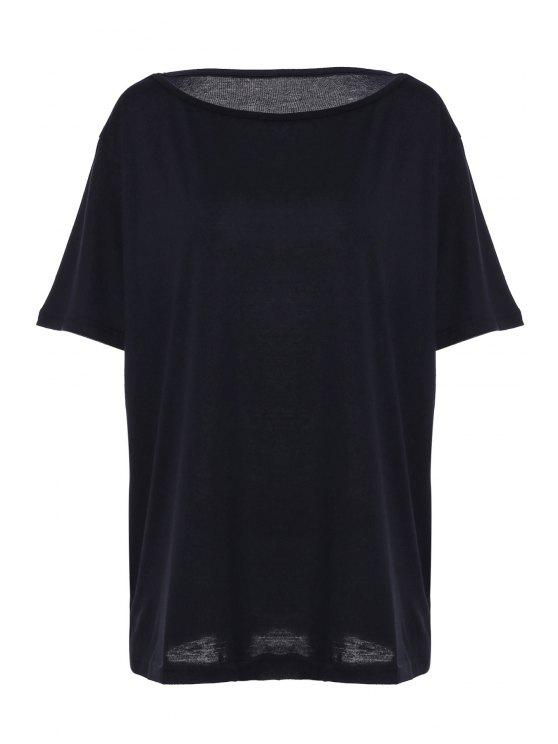 hot Solid Color Oblique Shoulder T-Shirt - BLACK S