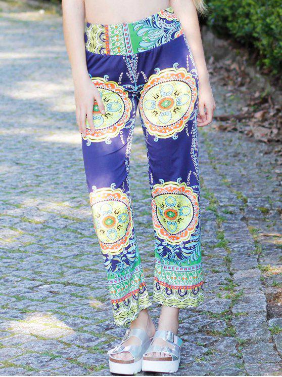 Stilvolle Mid-Taille weite Exumas Hose der Frauen mit Druck - COLORMIX  M