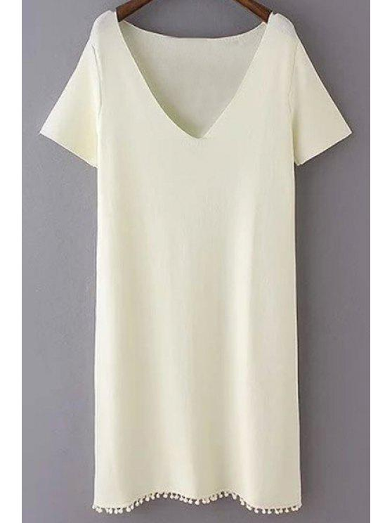 best Pure Color Plunging Neck Short Sleeves Dress - WHITE L