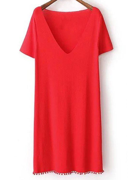 ladies Pure Color Plunging Neck Short Sleeves Dress - RED L