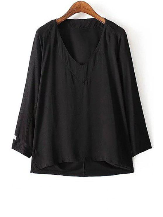 new Pure Color V-Neck Long Sleeve Loose T-Shirt - BLACK M