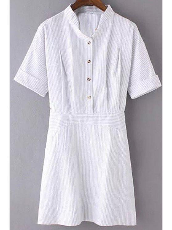 buy Striped Turn Down Collar Short Sleeves Dress - STRIPE S