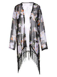 Collarless Tassel Splicing Floral Long Sleeve Kimono - Black S