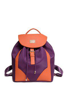 Color Block Splicing Buckle Satchel - Purple