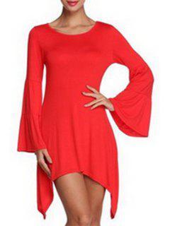 Vestido De La Manga De La Llamarada Del Color Sólido Del Cuello Irregular HemRound - Rojo Xl