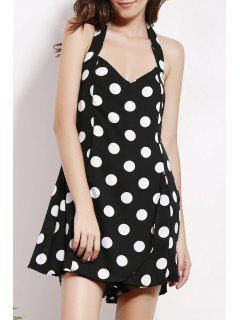 Backless Polka Dot Halter Sleeveless Playsuit - Black 2xl