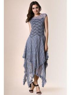 Irregular Hem Lace Prom Dress - Gray Xl