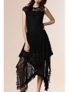 Irregular Hem Lace Prom Dress - Black Xl