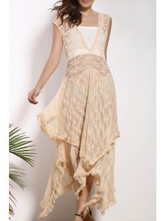 Irregular Hem Lace Prom Dress - Apricot Xl