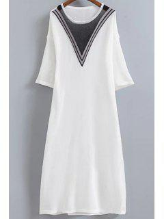 V-Shaped Stripe Knitted Dress - White