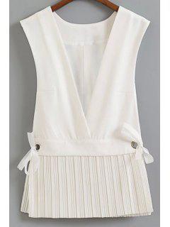 Low Cut Pleated Hem Waistcoat - White L